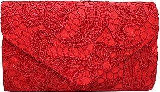 PB-SOAR Elegant Damentasche Clutch Abendtasche Brauttasche Umhängetasche Handtasche mit Spitze, 8 Farben auswählbar (Rot)