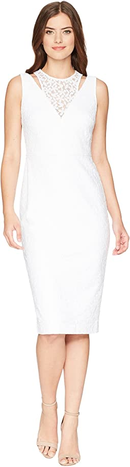 Lace Sheath Dress with Shoulder Cut Outs CD8L19FT