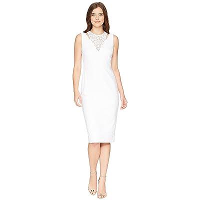 Calvin Klein Lace Sheath Dress with Shoulder Cut Outs CD8L19FT (White) Women