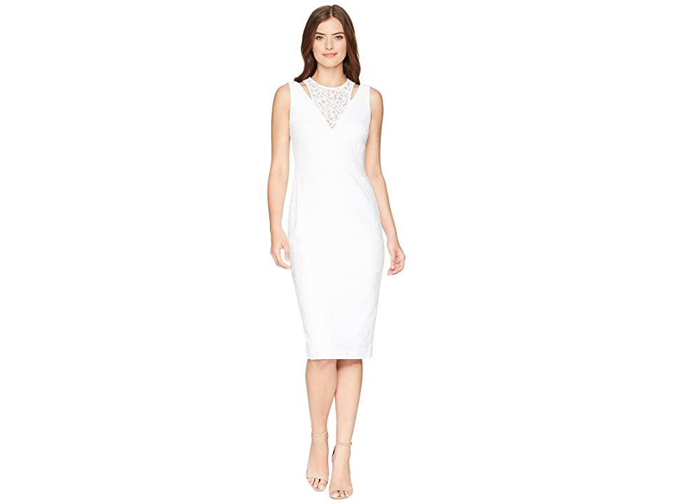 Calvin Klein Lace Sheath Dress with Shoulder Cut Outs CD8L19FT (White) Women