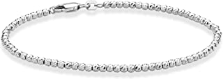 925 Sterling Silver Diamond-Cut 2.5mm Bead Ball Chain Bracelet or Anklet for Women Girls 6.5, 7, 8, 9, 10 Inch Made in Italy