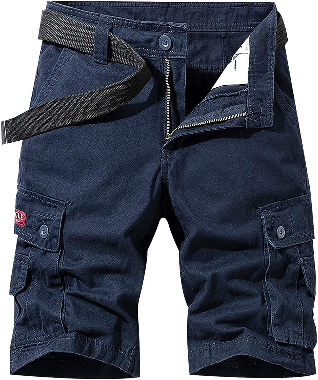 miqiqism Men's Casual Loose Solid Color Shorts Sweatpants Pocket Zipper Sport Short Pants