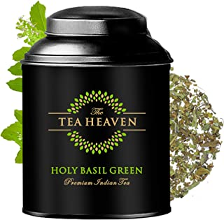 The Tea Heaven 3.5 Oz (50 Cups) Holy Basil Green Tea Blended with 3 kinds of Holy Basil | Fresh Whole Leaf Teas | Brew Hot...