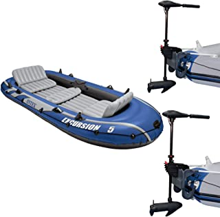 Intex Excursion 5 Inflatable Boat Set & 2 Transom Mount 8 Speed Trolling Motors