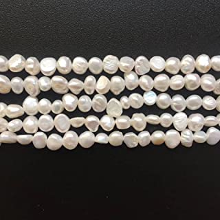 Small Size 3-4mm Irregular Genuine White Freshwater Baroque Pearl Loose Beads for DIY Fashion Necklace Bracelet Earrings Jewelry Making One Strand 15 Inch
