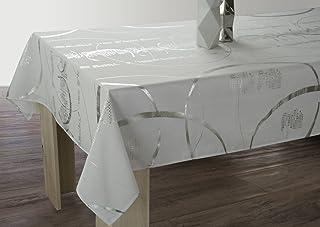 Le linge de Jules Nappe Shiny - Entretien Facile Blanche - Taille : Rectangle 150x240 cm