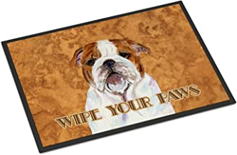 "Caroline's Treasures SS4896MAT Bulldog English Wipe Your Paws Indoor or Outdoor Mat, 18"" x 27"", Multicolor"