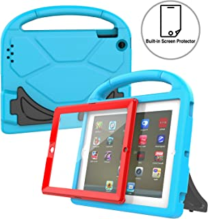 AVAWO Kids Case Built-in Screen Protector for iPad 2 3 4 (Old Model)- Shockproof Handle Stand Kids Friendly Compatible with iPad 2nd 3rd 4th Generation (Blue+Red)