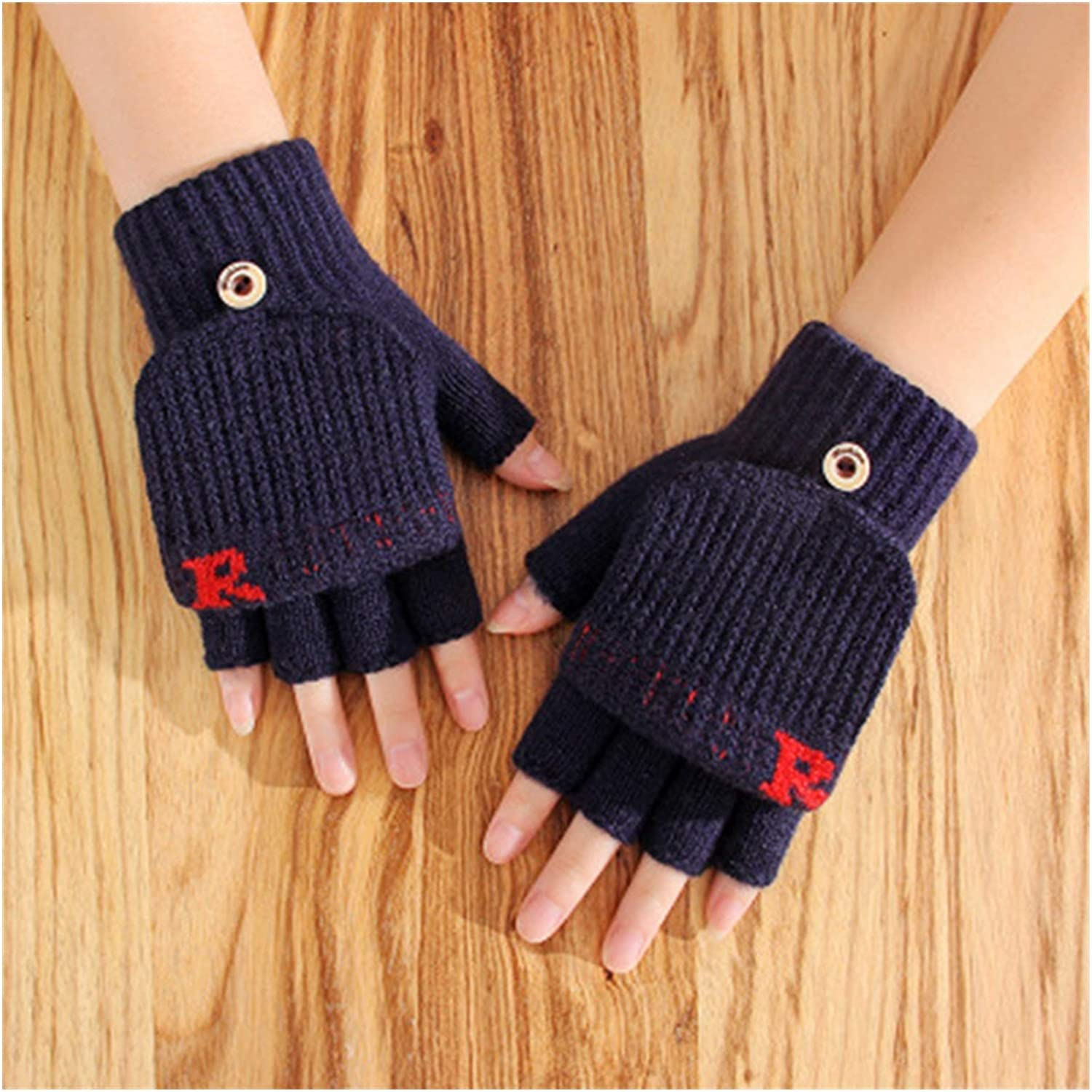 GUYANMAY Lace Gloves Unisex Winter Flip Fingerless Knitted Wool Warm Typing Mittens Male Half Finger Elastic Touch Screen Cycling Driving Gloves (Color : Dark Blue)