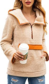 PRETTYGARDEN Women's Casual Fuzzy Sherpa Fleece Long Sleeve Lapel Haft Zipper Hoodie Pullover Sweatshirt Outwear with Pocket