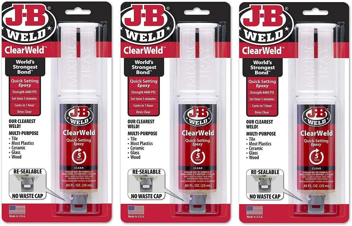 J-B Weld 50112 ClearWeld Ranking TOP9 Quick-Setting Clear Syringe 2 Genuine Free Shipping Epoxy -