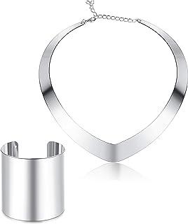 Udalyn Bib Choker Necklace Set for Women Wide Cuff Bangle Bracelets Statement Hoop Earrings Jewelry
