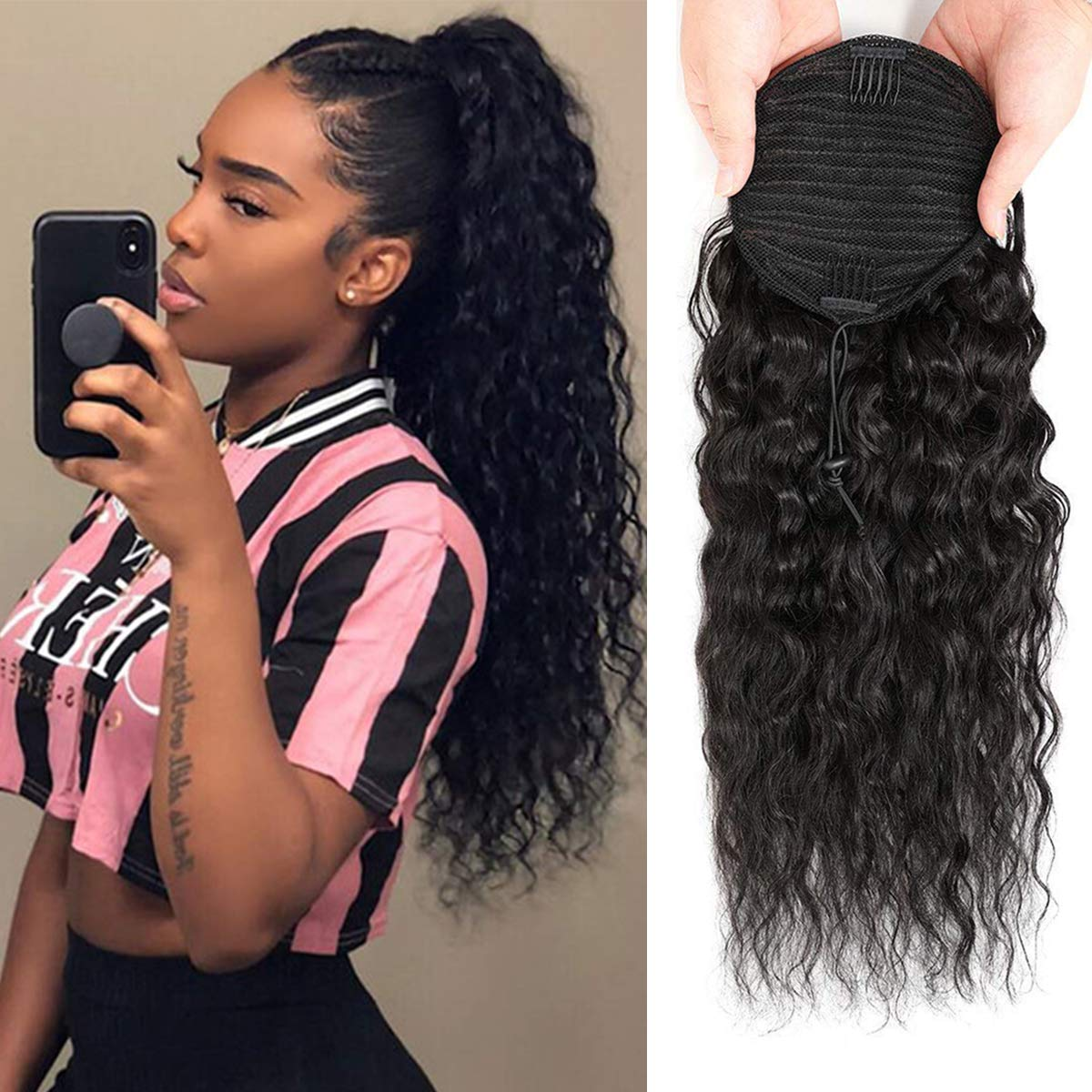 Human Hair Clip Daily bargain sale Albuquerque Mall in Corn Wave Ponytail Long Extensions Draw Wrap