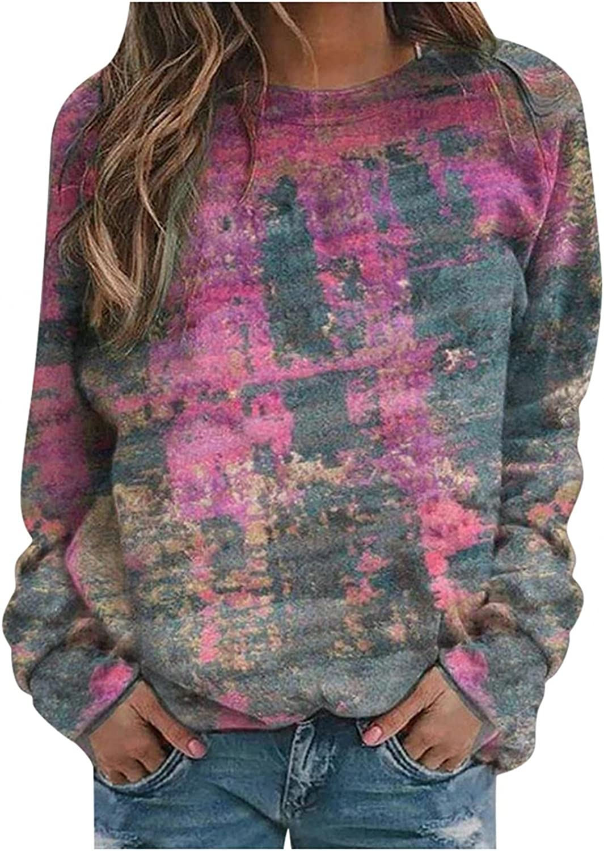 TAYBAGH Graphic Hoodies for Women, Women Casual Tie Dye Print Crewneck Sweatshirt Pullover Long Sleeve Loose Top Blouses
