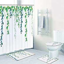 4 Pcs Blue Green Leaves Shower Curtain Set with Non-Slip Rug, Toilet Lid Cover, Bath Mat and 12 Hooks, Plant Leaf Vine Waterproof Shower Curtain Set for Bathroom