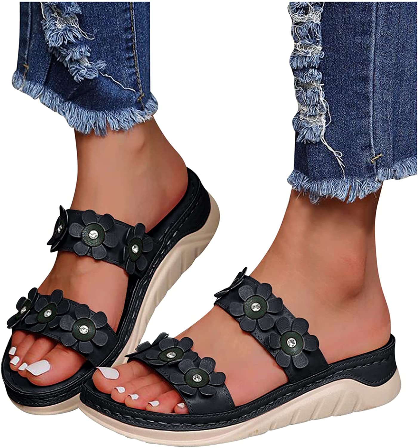 Olymmont Platform Sandals for Women Casual Summer Slip-On Open Toe Breathable Slides Dual Flower Crystal Shiny Pretty Slippers Arch Support Memory Foam Flip Flops Beach Travel (Black, 6.5-7)