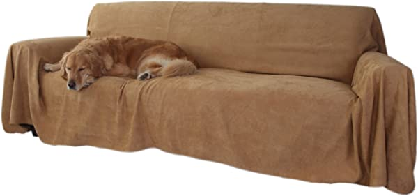 Floppy Ears Design Simple Faux Suede Couch Cover Protector Tan Large Three Cushion Couch Size