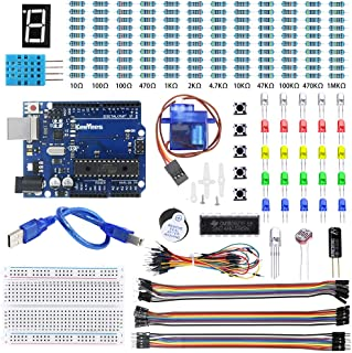 KeeYees 電子工作キット UNOR3開発ボード用 初心者向け 電子部品 33種類 スターターキット エレクトロニクス入門キット 抵抗器のカラーコードカード付き