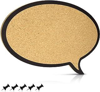 Navaris tablero de corcho con forma de diálogo - Pizarra de corcho de 44x29x1CM - Tablón para colgar anuncios y fotos con 5 chinchetas incluidas