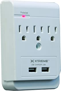 Xtreme XWS8-0108-WHT 3 Outlet Wall Tap with 2 USB Ports Power Distribution Unit, White
