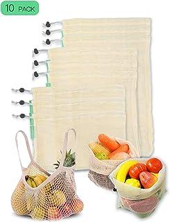 comprar comparacion CompraFun Bolsas Reutilizables de Compra, Bolsas de Malla de Algodón Lavables y Transpirables para Frutas, Verduras, Jugue...