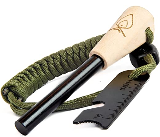"""Texas Bushcraft Fire Starter - 3/8"""" Thick Ferro Rod with Striker and Paracord Wrist Lanyard – Waterproof Flint Fire Steel Survival Lighter for Your Camping, Hiking and Backpacking Gear"""