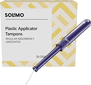Amazon Brand - Solimo Plastic Applicator Tampons, Regular Absorbency, Unscented, 36 Count, 1 Pack