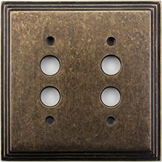 Classic Accents Deco Aged Antique Brass Two Gang Push Button Light Switch Wall Plate