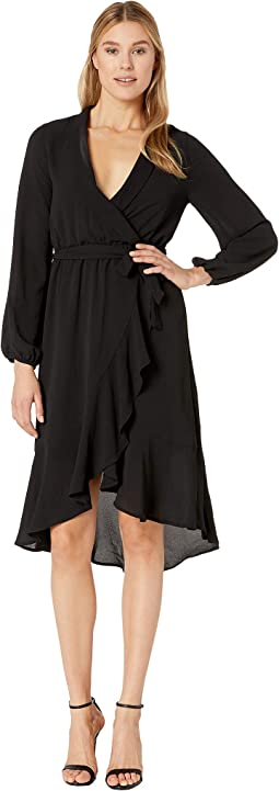 Faux Wrap High-Low Dress