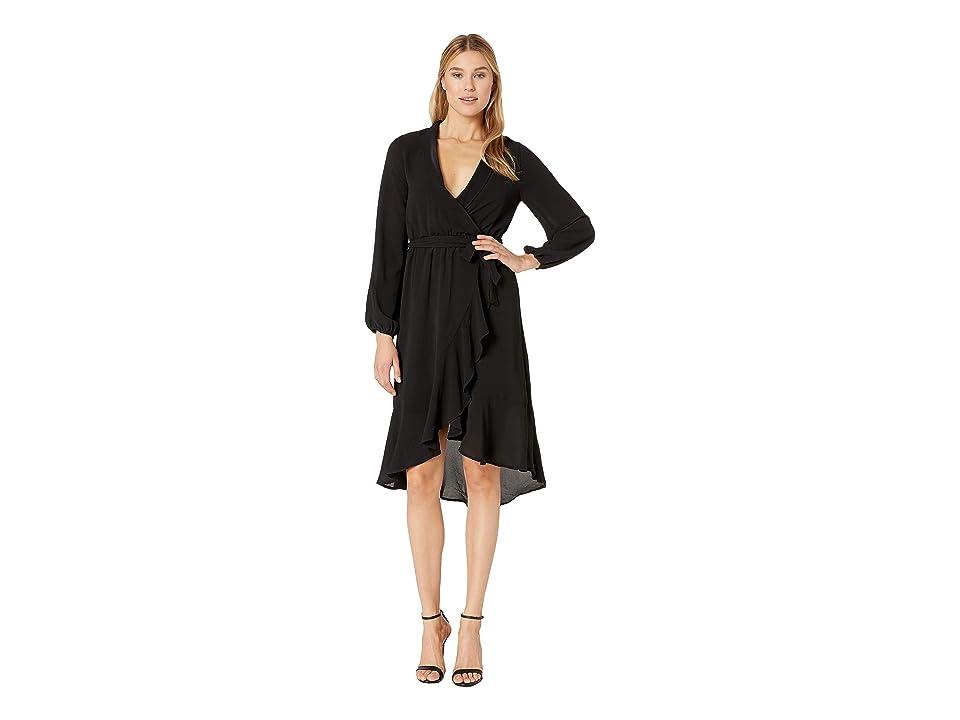 Bobeau Faux Wrap High-Low Dress (Black) Women