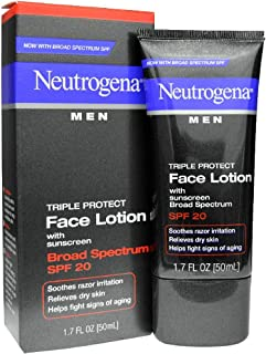 Neutrogena Triple Protect Men's Daily Face Lotion with Broad Spectrum SPF 20 Sunscreen, Moisturizer to Fight Aging Signs, Soothe Razor Irritation & Relieve Dry Skin, 1.7 fl. oz (Pack of 5)