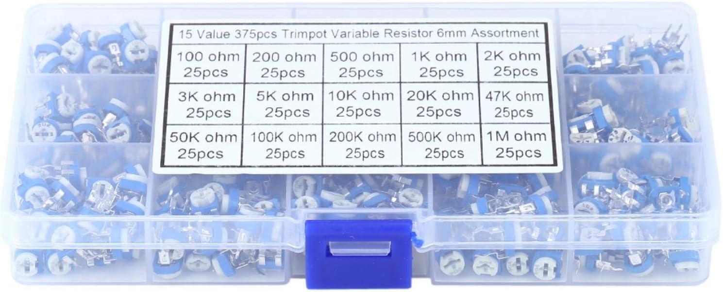 Resistencia variable-375 piezas 15 valores potenciómetro resistencia variable con baja pérdida, resistencia de alto voltaje, carga y descarga rápidas