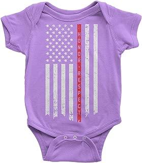 Threadrock Baby Honor & Respect Thin Red Line Flag Infant Bodysuit