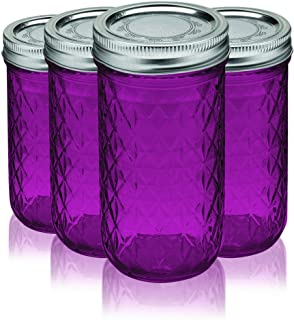 Ball Jar Crystal Jelly Jars with Lids and Bands 12Oz - Full Color Pink - Additional Vibrant Colors Available by TableTop King