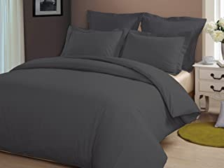 Whitecottonworld Hotel Luxury Egyptian Cotton 800 Thread Count Zipper Closer 1-Pieces Duvet Cover with Corner Ties Hypoallergenic, White Solid (Oversized King (98 x 120 Inch), Dark Grey Solid)