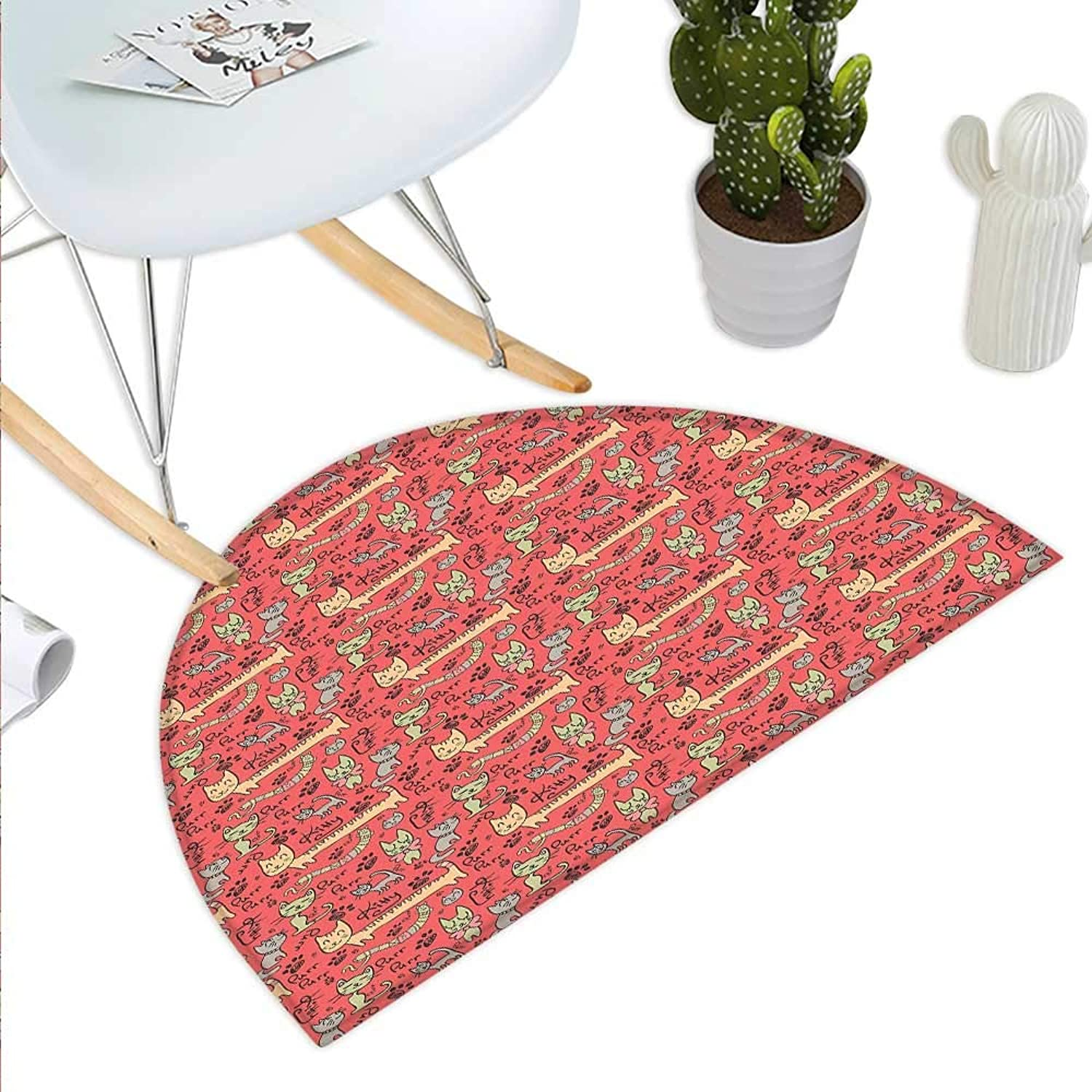 Cat Semicircle Doormat Pattern with Cute Hand Drawn Style Cats Purr Purr Kitty Paws Bow Ties Adorable Doodle Halfmoon doormats H 43.3  xD 64.9  Multicolor