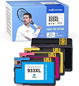 MYCARTRIDGE Compatible Ink Cartridge Replacement for HP 933 932XL 933XL 933 XL 932 XL Use for OfficeJet 6700 6600 7610 7612 6100 7110 (Black Cyan Magenta Yellow, 4 Pack)