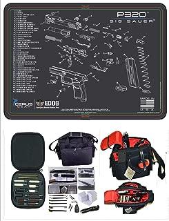 EDOG Cerus SIG P320 Schematic Gun Cleaning Mat & Black Hard Stone Hot Shot High Vis Handgun Pistol Range Duty Bag & 27 Pc Hand Gun Range/Field/Bench Cleaning Kit