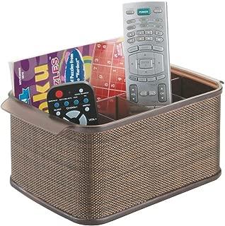 mDesign Storage Organizer Caddy for TV Remote Controls, Magazines - Bronze/Sand