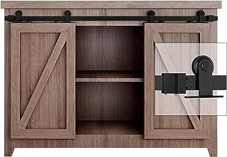 EaseLife 5 FT Super Mini Top Mount Double Door Sliding Barn Door Hardware Track Kit,Easy Install,Slide Smoothly Quietly,Apply for Cabinet Window TV Closet(No Cabinet)(5FT Track Double Door Kit)
