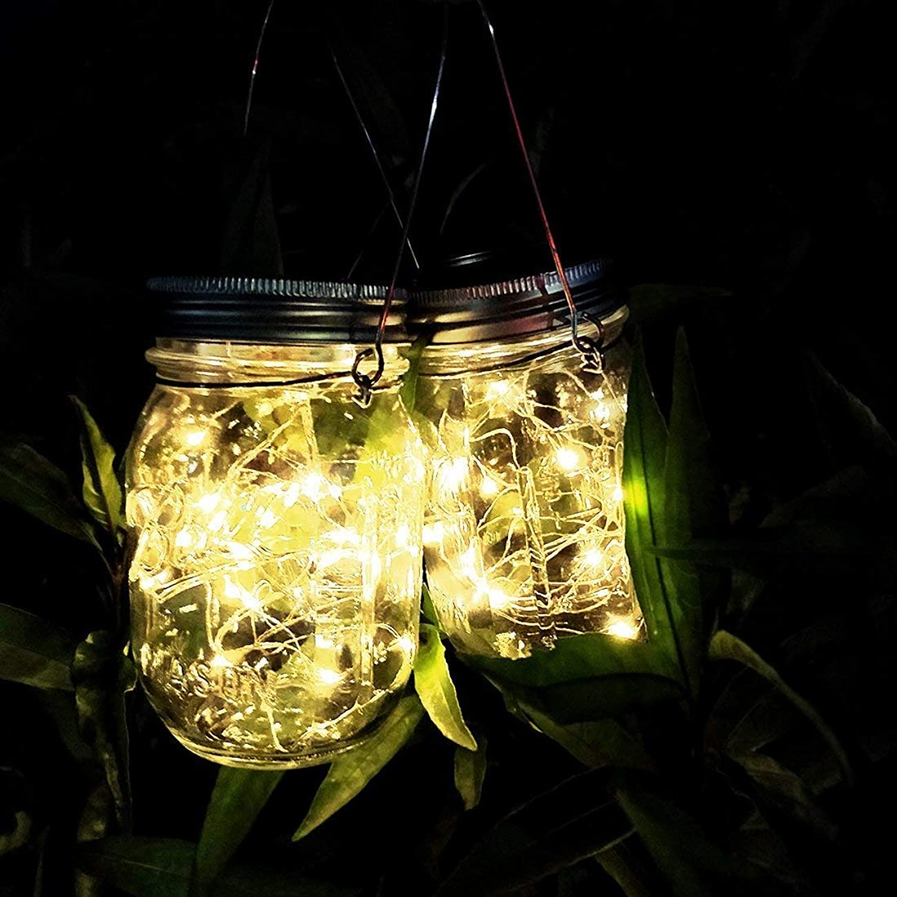 上回るリズミカルな失礼メイソンジャー風ソーラーライト 夜間自動点灯LEDガーデンライト 防水IP65 お庭や芝生をオシャレに演出 ガーデニングやアウトドアに最適 (暖色 2個セット)