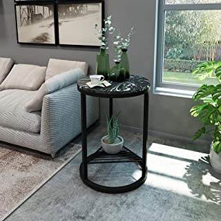 LYN Sofa Side End Table, Round Side Table with Marble Exterior - Modern Lightweight Metal Effect Furniture - for Bedside/C...