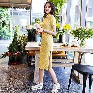 Daily Cheongsam Spring And Summer New Small Fresh Cotton And Linen Long Women'S Slim Cheongsam