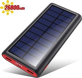 【最新版 26800mAh PSE認証済】モバイルバッテリー ソーラーチャージー ソーラー充電器 大容量 急速充電器 2USB出力ポート 残量表示 持ち運び便利 地震/災害/旅行/出張/アウトドア活動
