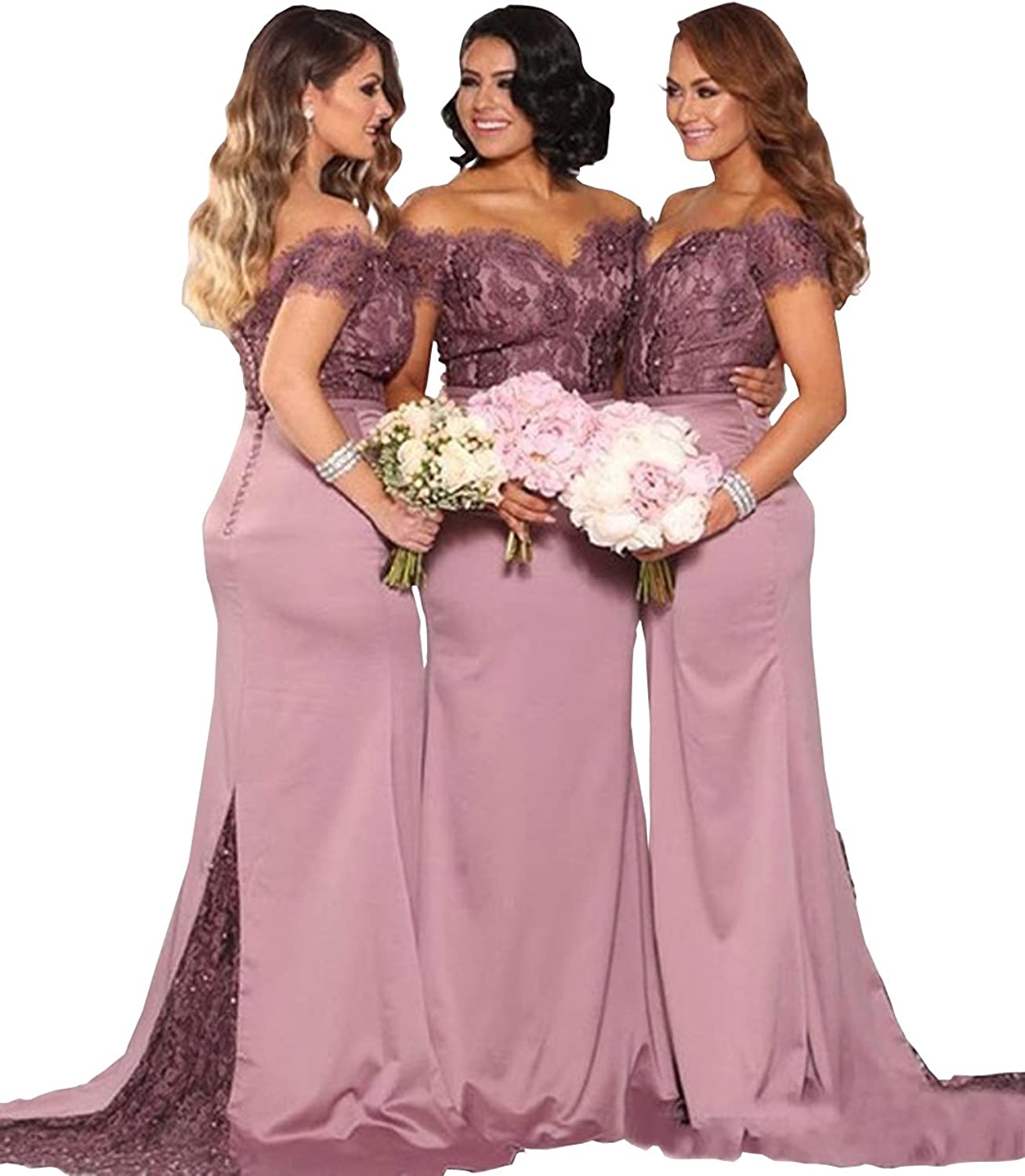 Wdress Long Bridesmaid Dusty Pink Lace and Satin Elegant Wedding Guest Wear Gown