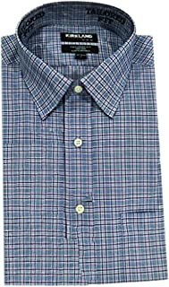 Kirkland Signature Men's Tailored Fit 100% Cotton Non-Iron Spread Collar Dress Shirt