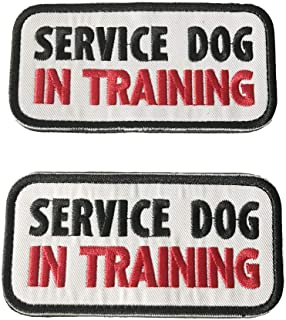 Motusamare Service Dog Patch in Training Embroidery Tactical Military Morale Patch Badge Hook & Loop Fastener for Dogs and Pets (2pcs)