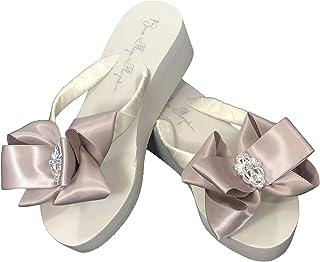 Champagne & Rhinestone Lace Embellishment Bows on Ivory 2 Inch Flip Flops (9)