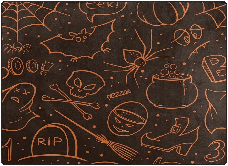 SUABO 80 x 58 inches Area Rug Non-Slip Floor Mat Halloween Symbol Printed Doormats for Living Room Bedroom