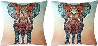 Trifoglio Juego de 2 fundas de cojín de 45 x 45 cm, funda de cojín de elefante, exótica, creativa, ropa decorativa para sofá, coche, decoración del hogar